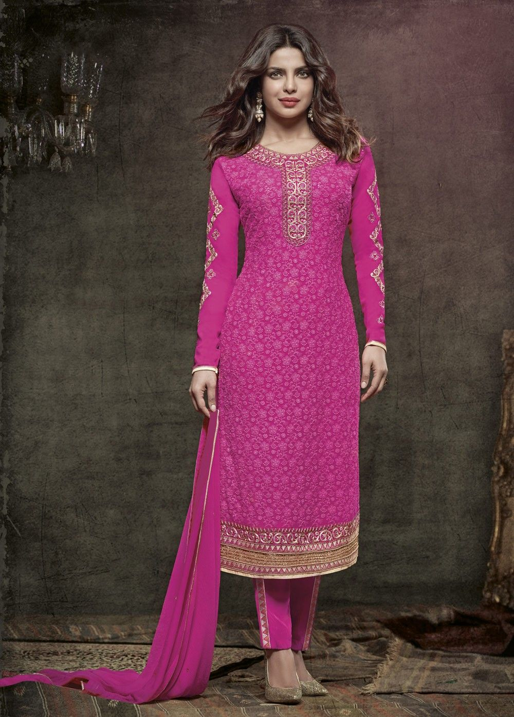 Rani Color with Georgette with Chifli work Salwar Suit | Free ...