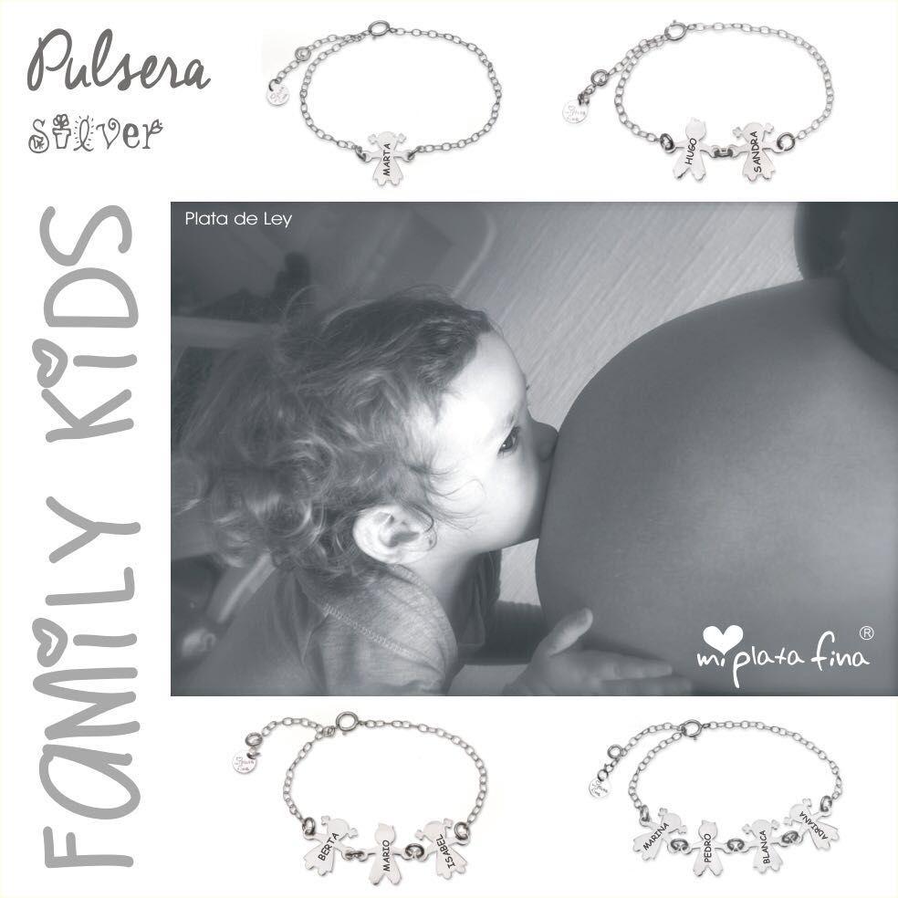 Pulsera FAMILY KIDS, en plata de ley con las figuritas que necesites 1,2,3,4,...  todos tus pekes con su nombre grabado. #joyasquehablandeti #miplatafina