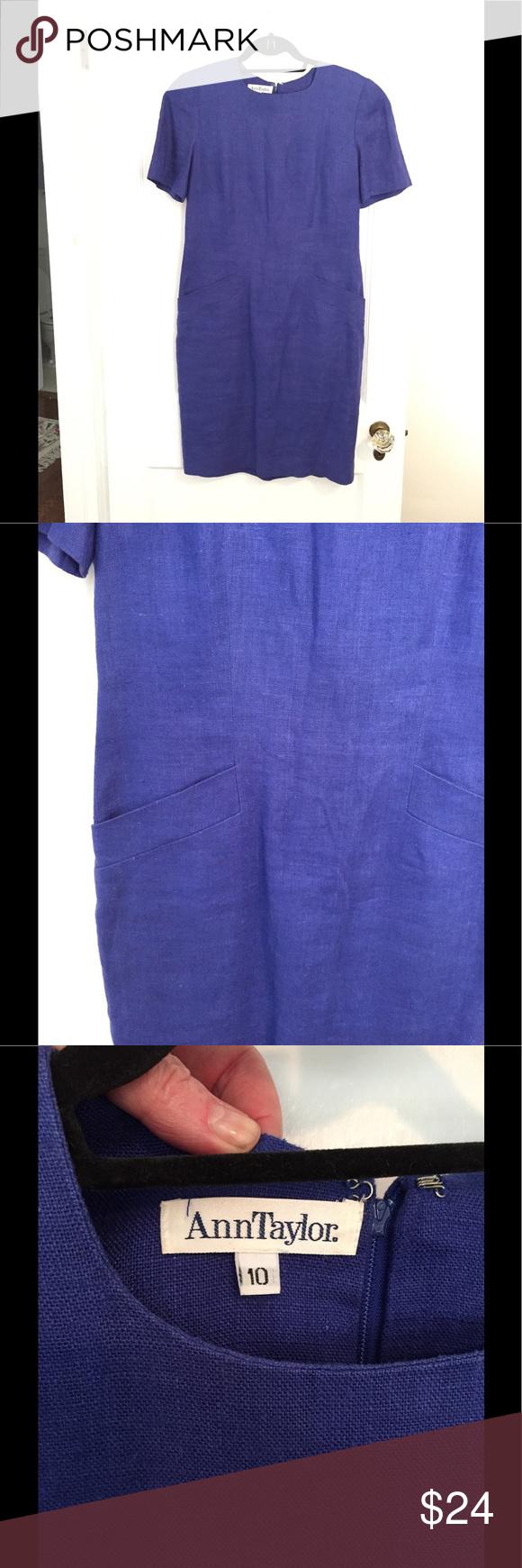 Ann Taylor sz 10 linen lined career dress blue Short sleeve lined 36 ...