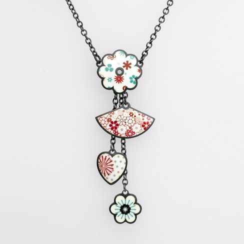Jane Moore Daisy Pendant with Charms (precious metal, enamel)