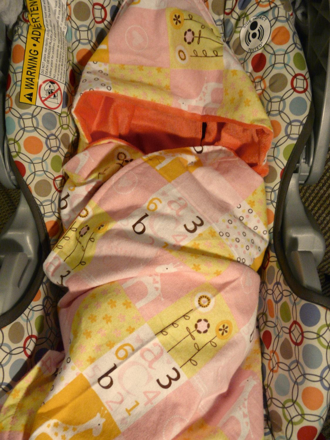 Hooded and Clip in Minky Baby Girl Stroller or Carseat