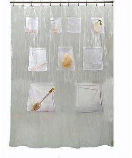 Creative Bath Products Pockets Clear Vinyl Shower Curtain 70 X 72
