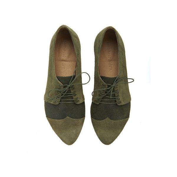 Olive Oxford Shoes Polly Jean Handmade