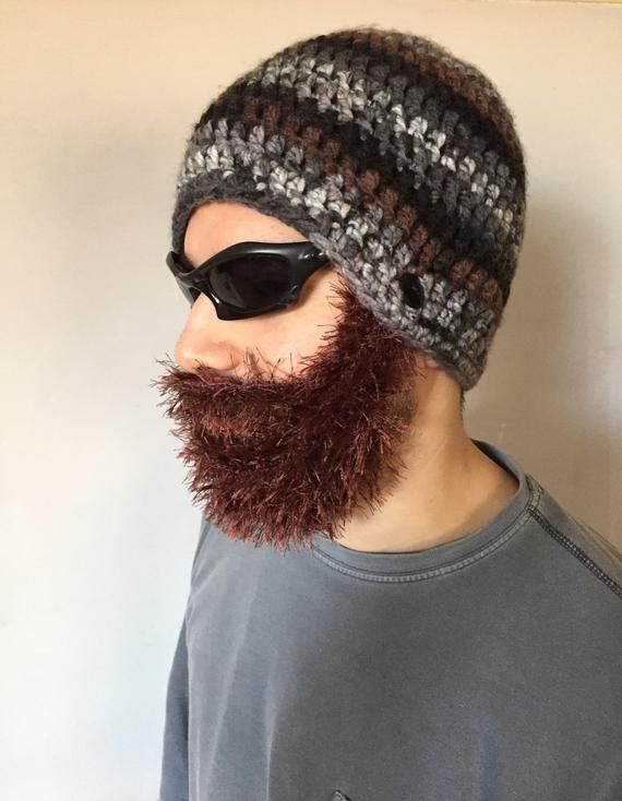 Handmade Crochet Beard hat, beard beanie. Mixed colors hat with brown beard, beard hat, men beard hat #crochetedbeards