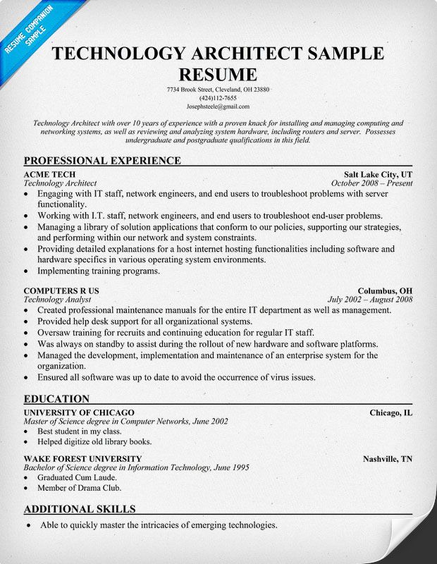 Technology Architect Resume (resumecompanion) #Tech Resume - system architect sample resume