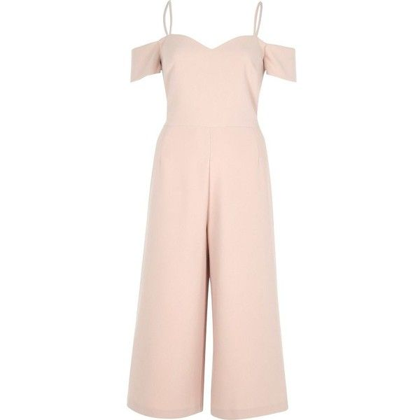 River Island Light pink bardot fitted culotte jumpsuit (113,305 KRW) ❤ liked on Polyvore featuring jumpsuits, jumpsuit, bodysuit, dresses, pink, rompers/ jumpsuits, women, cropped camisoles, cropped jumpsuit and romper jumpsuit