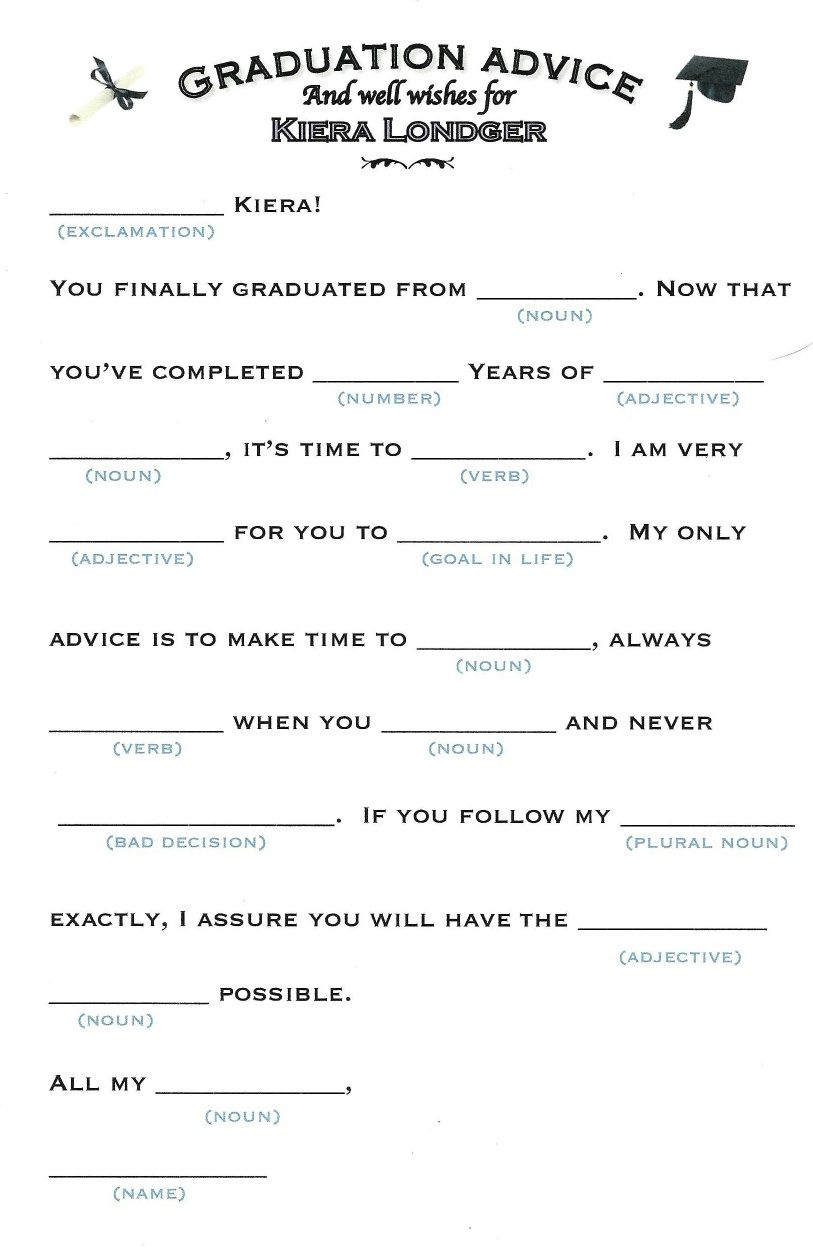 these mad libs are perfect for any graduation party