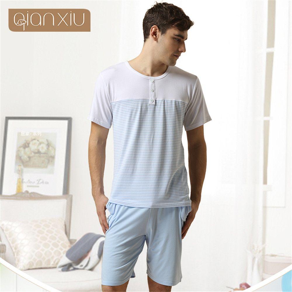 Qianxiu mens pyjama Short sleeve shorts sleepwear Cotton home Lounge Wear  men pajama sets Stripe pijama 33fe7be1d