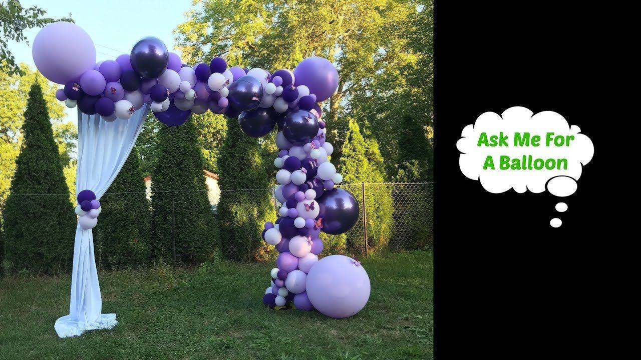 Purple Balloon Garland With 3D Butterflies Balloon