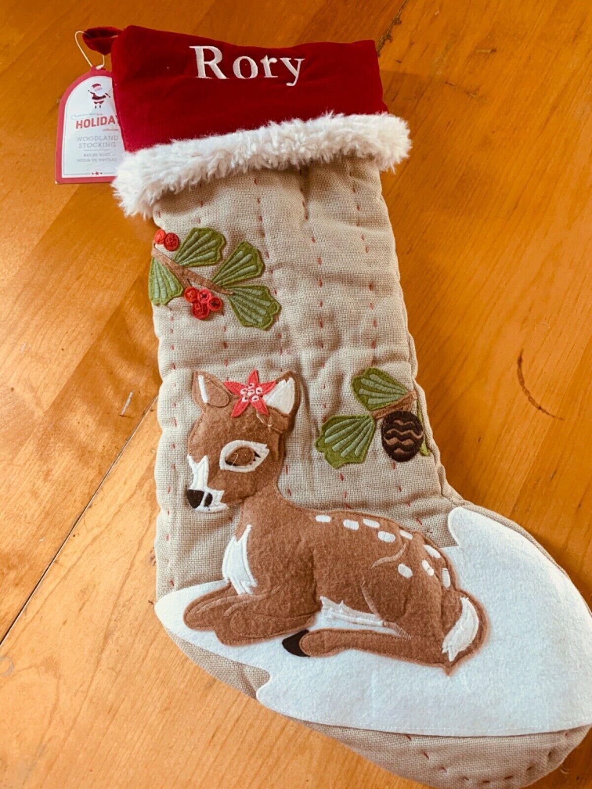 Nwt Pottery Barn Kids Christmas Stocking Woodland Girl Deer Rory Potterybarnkids C Kids Christmas Stockings Christmas Stockings Burlap Christmas Stockings