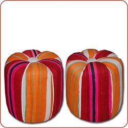 poufs made of old hanbal wool carpets
