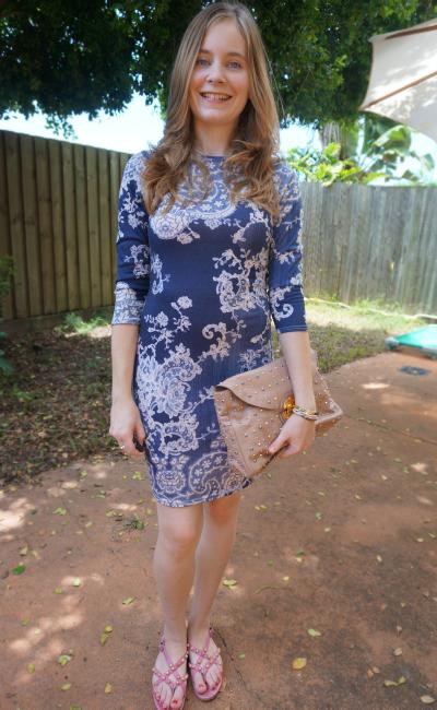 Away From Blue bohoo paisley print bodycon dress studded miu miu clutch