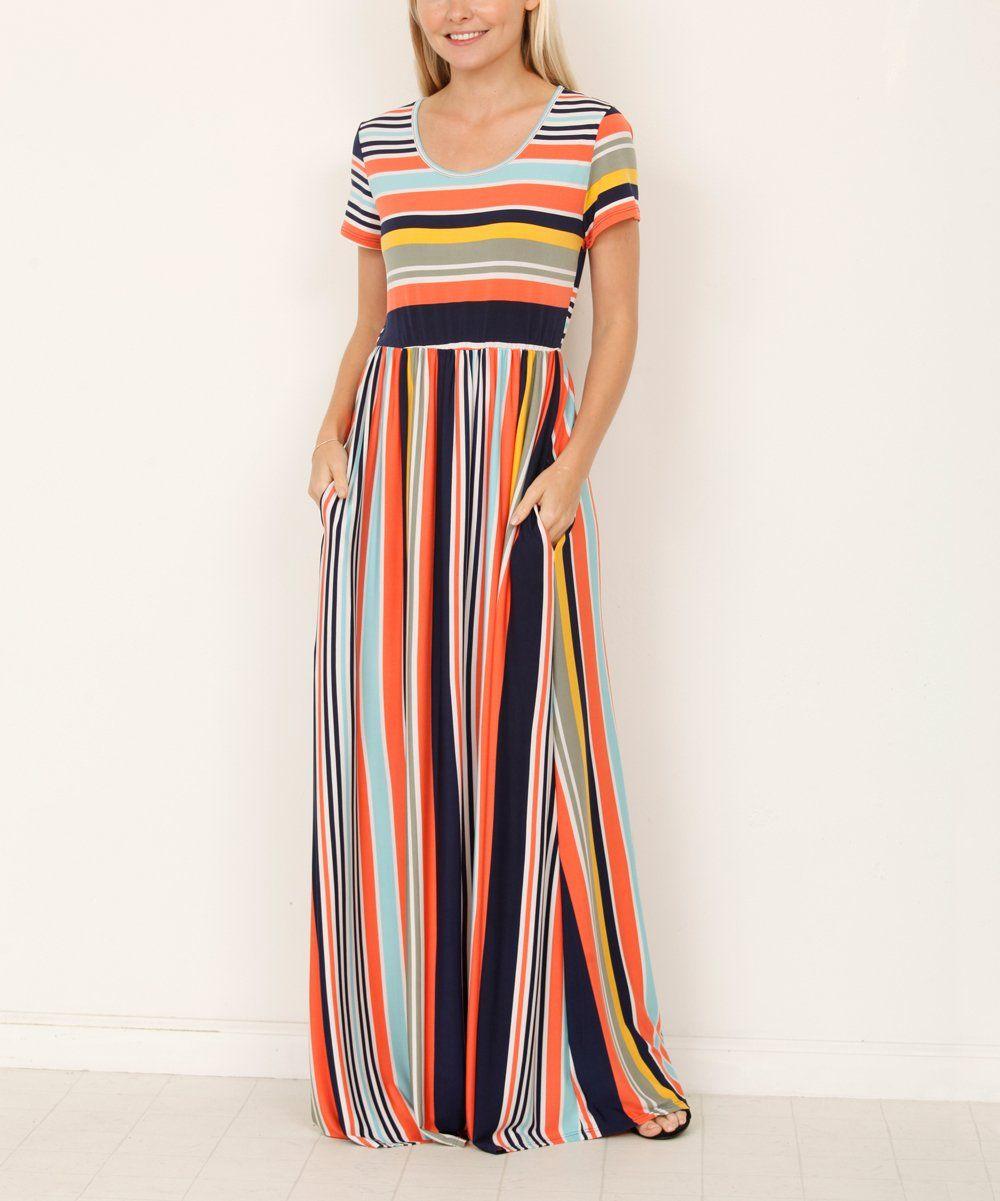 Egs By Eloges Yellow Coral Stripe Pocket Front Maxi Dress Women Zulily Womens Maxi Dresses Maxi Dress Womens Dresses [ jpg ]