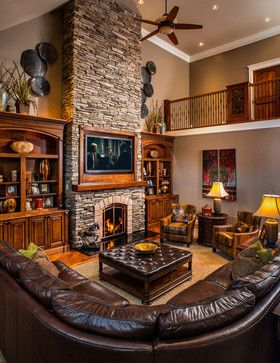 Modern Rustic Refined Ranch   Rustic   Living Room   Other Metro   Copper  Leaf Interior Design Studio Inset Tv And Stack Stone Fireplace