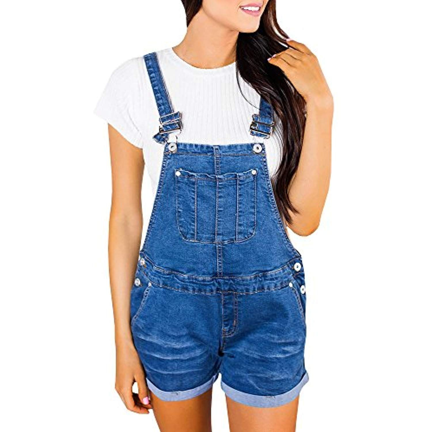 New Womens Ripped Distressed Pouch Pocket Cotton Denim Buttoned Dungaree Shorts Jumpsuits & Rompers