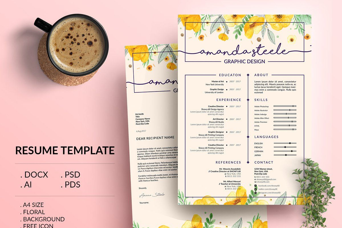 Floral Resume Template Cv Template Letterhead Desain Cv Cv Kreatif Kreatif