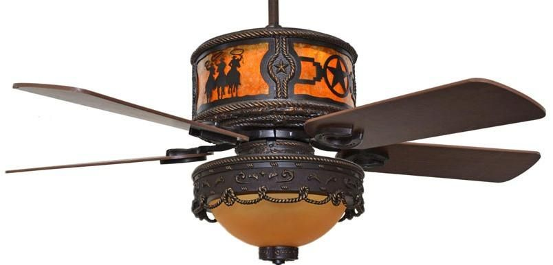 Cc Kvshr Brz Lk510 Rs Riders Stars Western Ceiling Fan With Light Kit