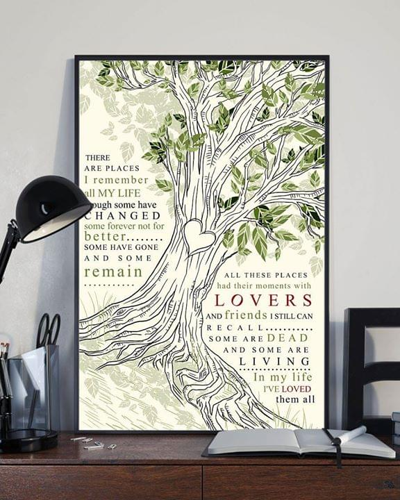 There Are Places I/'ll Remember Poster Friends And Lover In My Life By The Beatles Canvas Prints Art Eazy To Hang Home Decoration Gift For Family