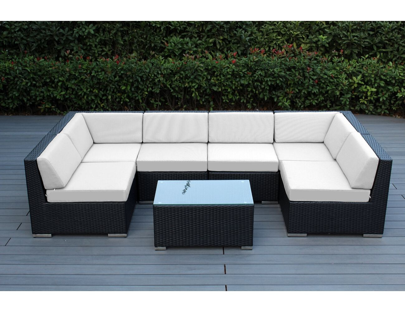 sunbrella natural white with black wicker ohana deep seating
