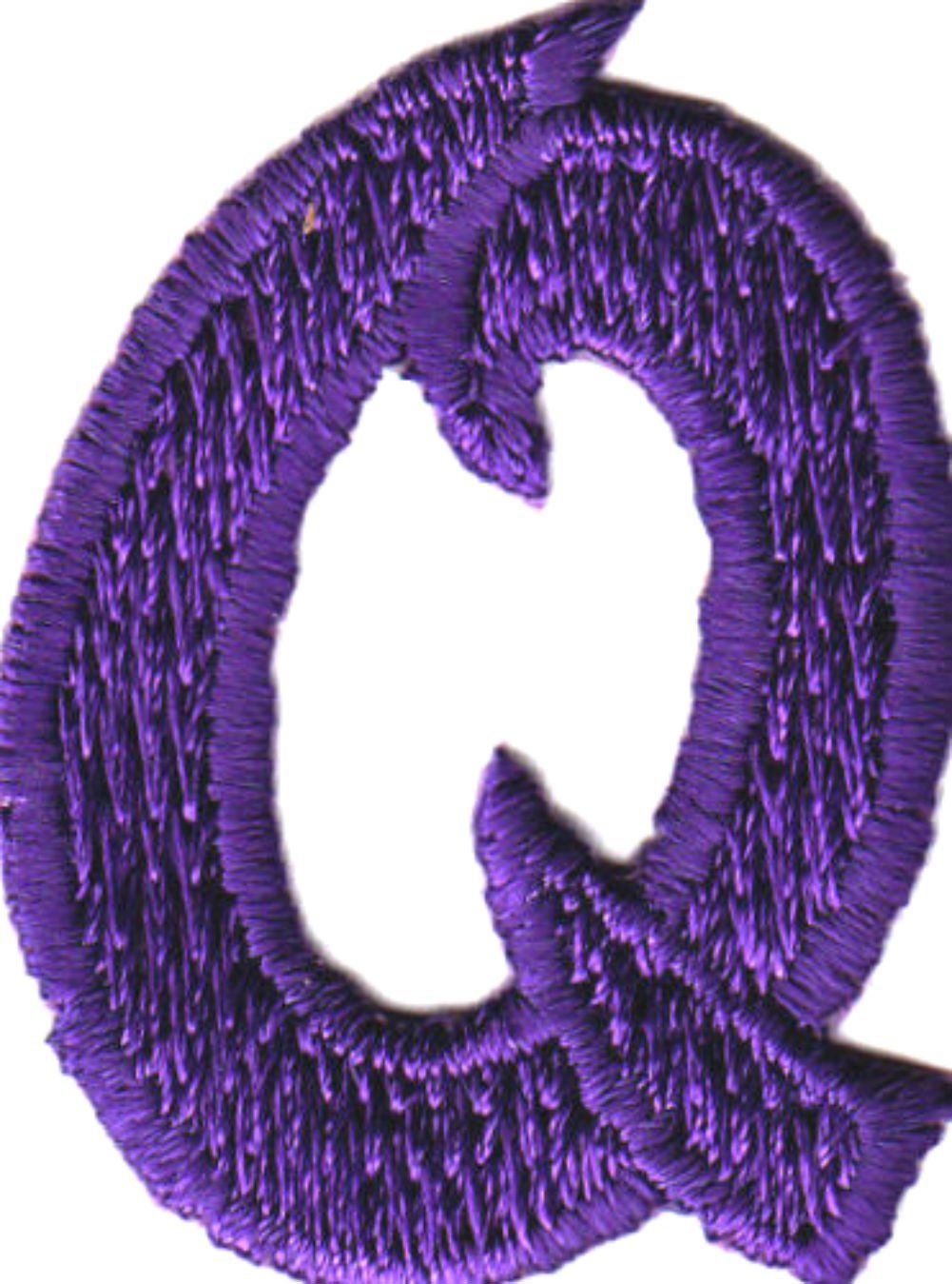 [Single Count] Custom and Unique by 1 Inches) American Alphabet Monogram  Letters Script Bold Letter Q Iron On Embroidered Applique Patch {Purple  Color}