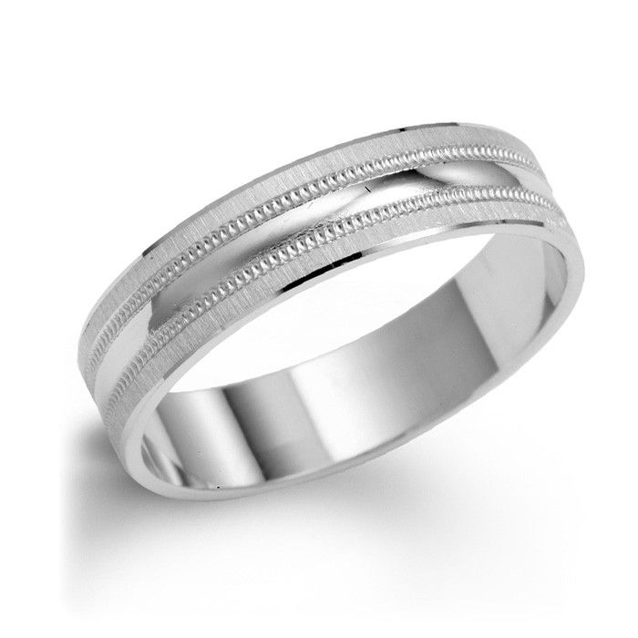 Polished Milgrain Wedding Band In 14k White Gold Milgrain Wedding Bands Mens Wedding Rings Wedding Rings Simple