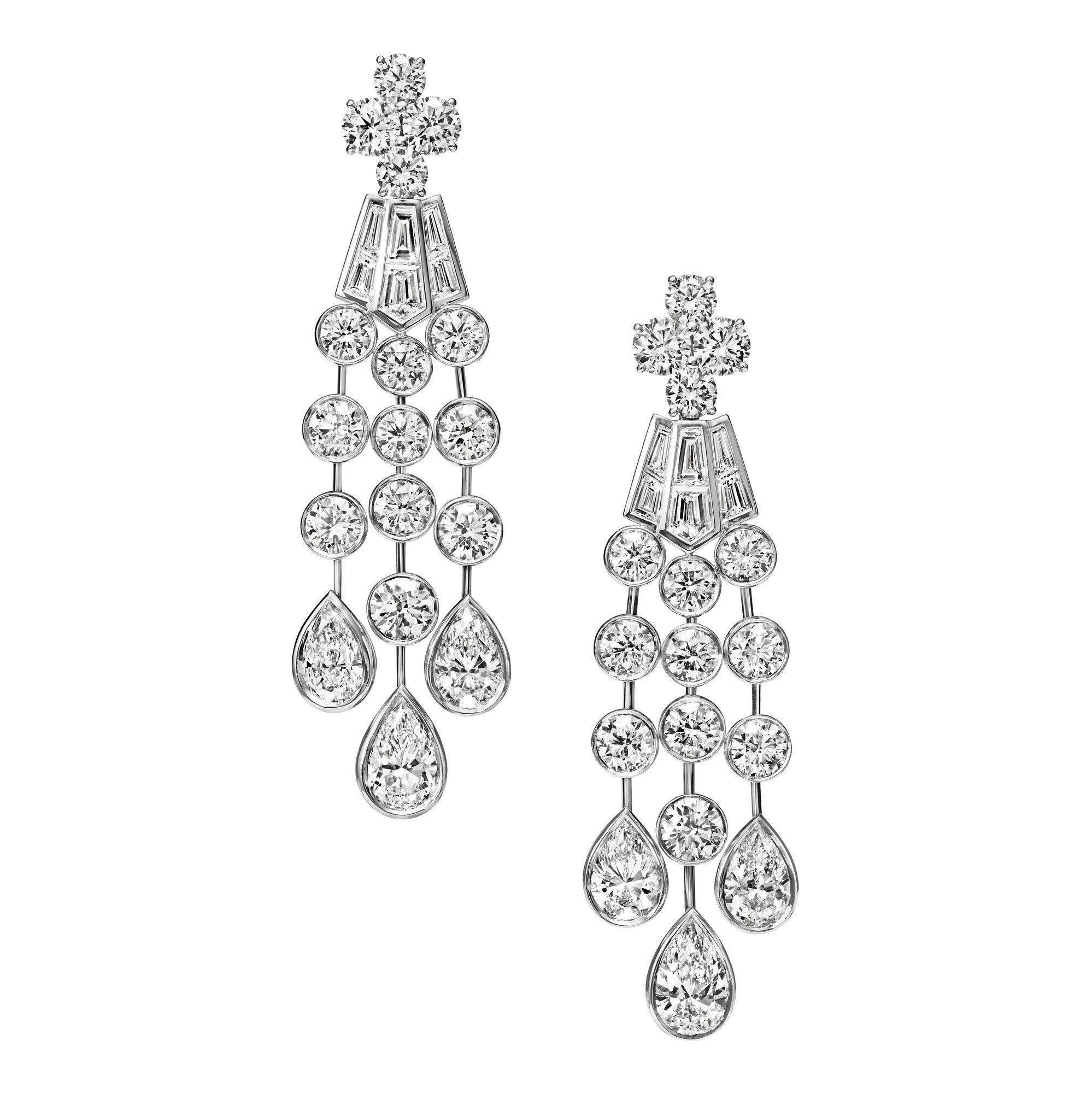 Deel Collection by Harry Winston, Diamond Cascading Drop Earrings