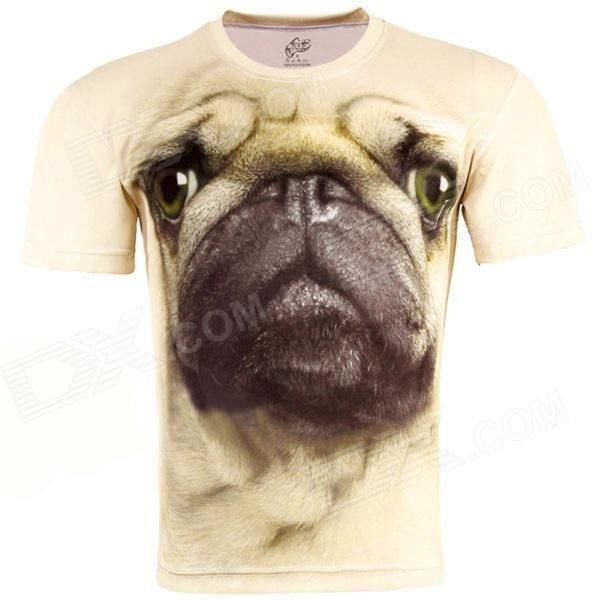 3D Impresso Estilo Pug manga curta T-shirt para Homens - Bege (Tamanho-XL)
