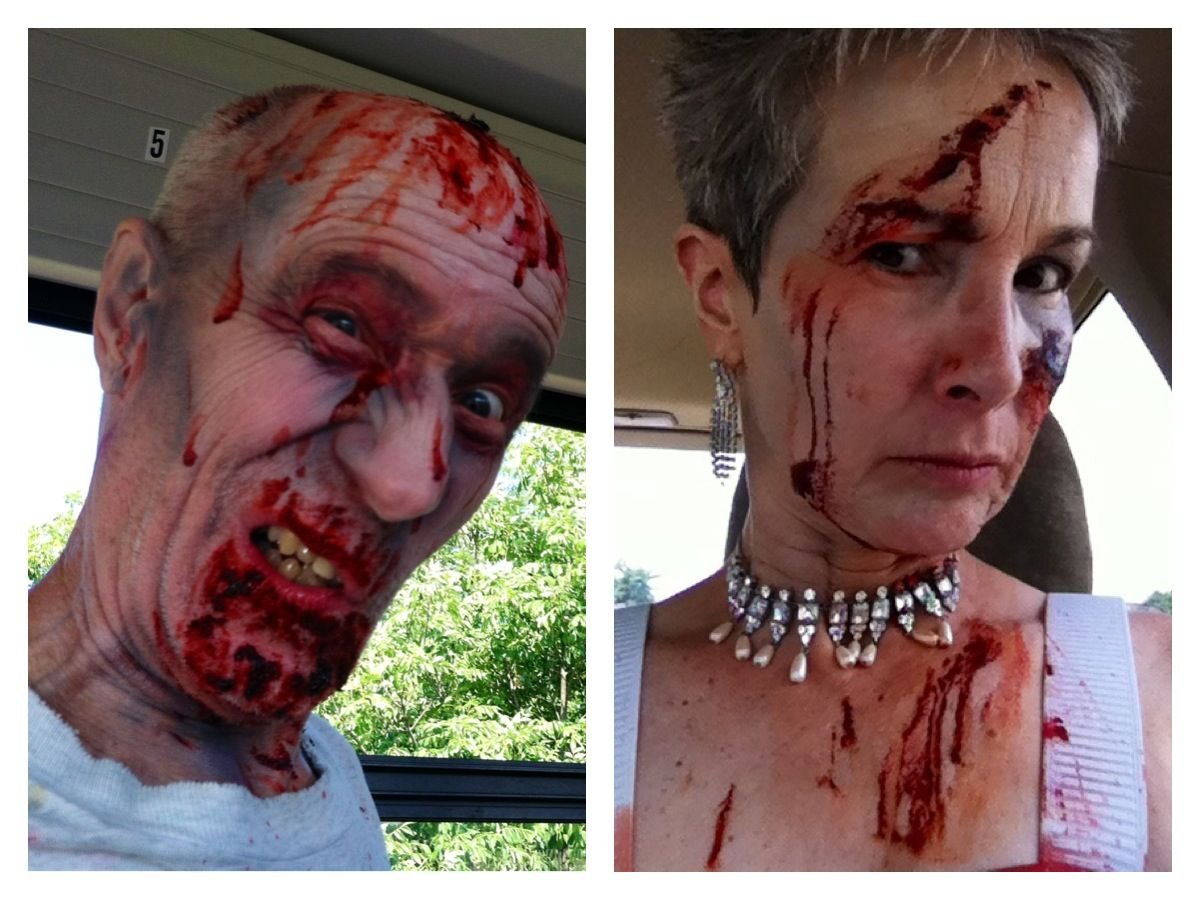 Photos taken of my husband and me at The Zombie Run, St