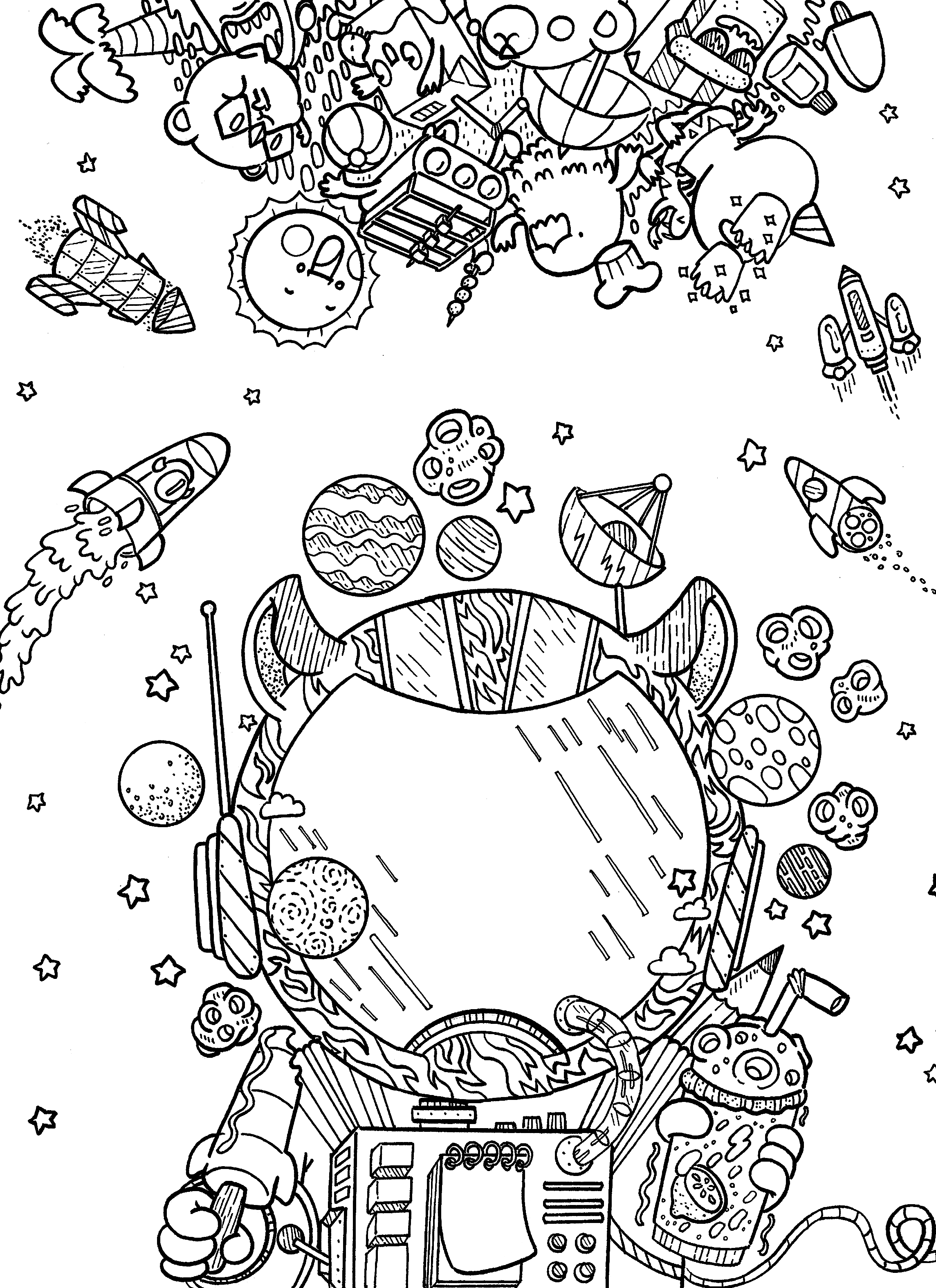 Outer Space Coloring Books Doodles