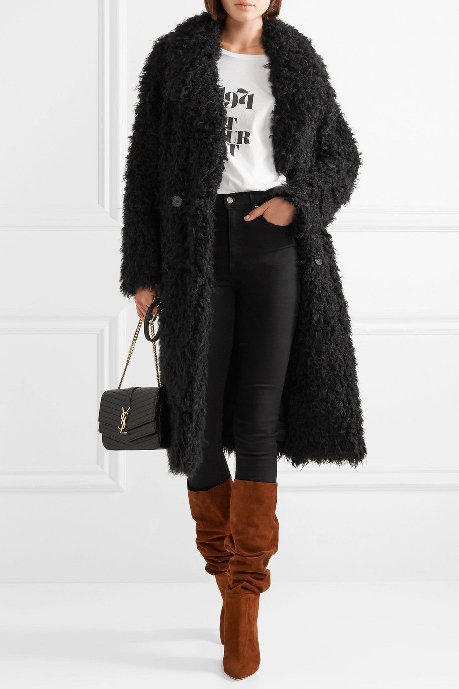 7cbff4f4ecc Saint Laurent | Oversized double-breasted faux shearling coat |  NET-A-PORTER.COM