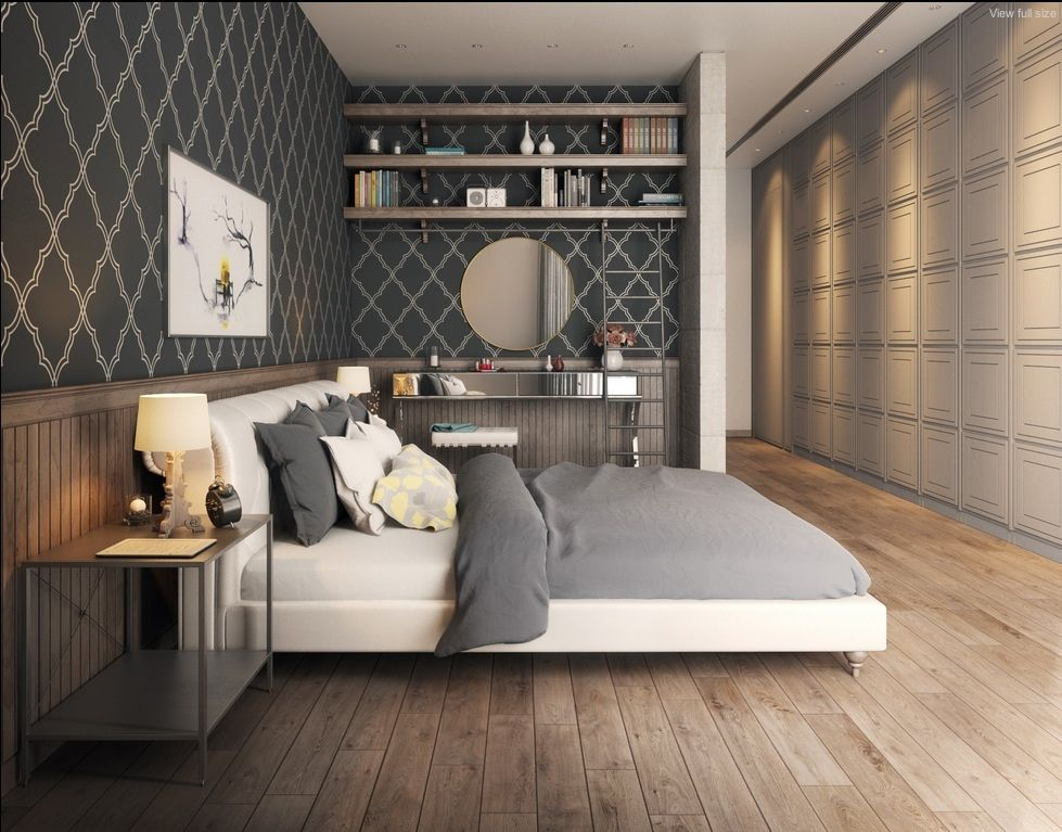 20 Elegant Stylized Bedroom Wallpaper Design in White Gray Features A  Shelving Unit  A Dressing. 20 Elegant Stylized Bedroom Wallpaper Design in White Gray