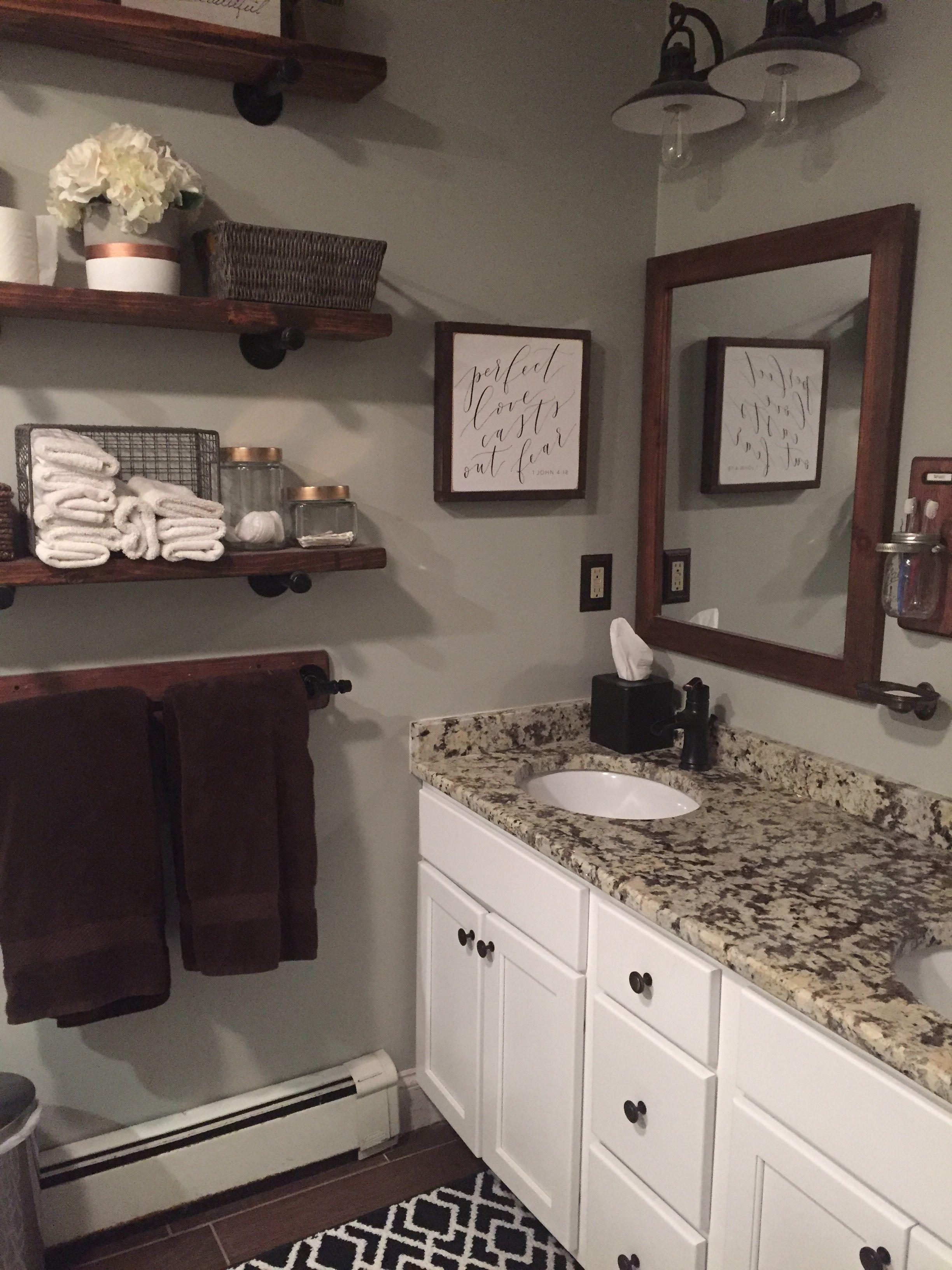 Rustic farmhouse bathroom white granite shelves