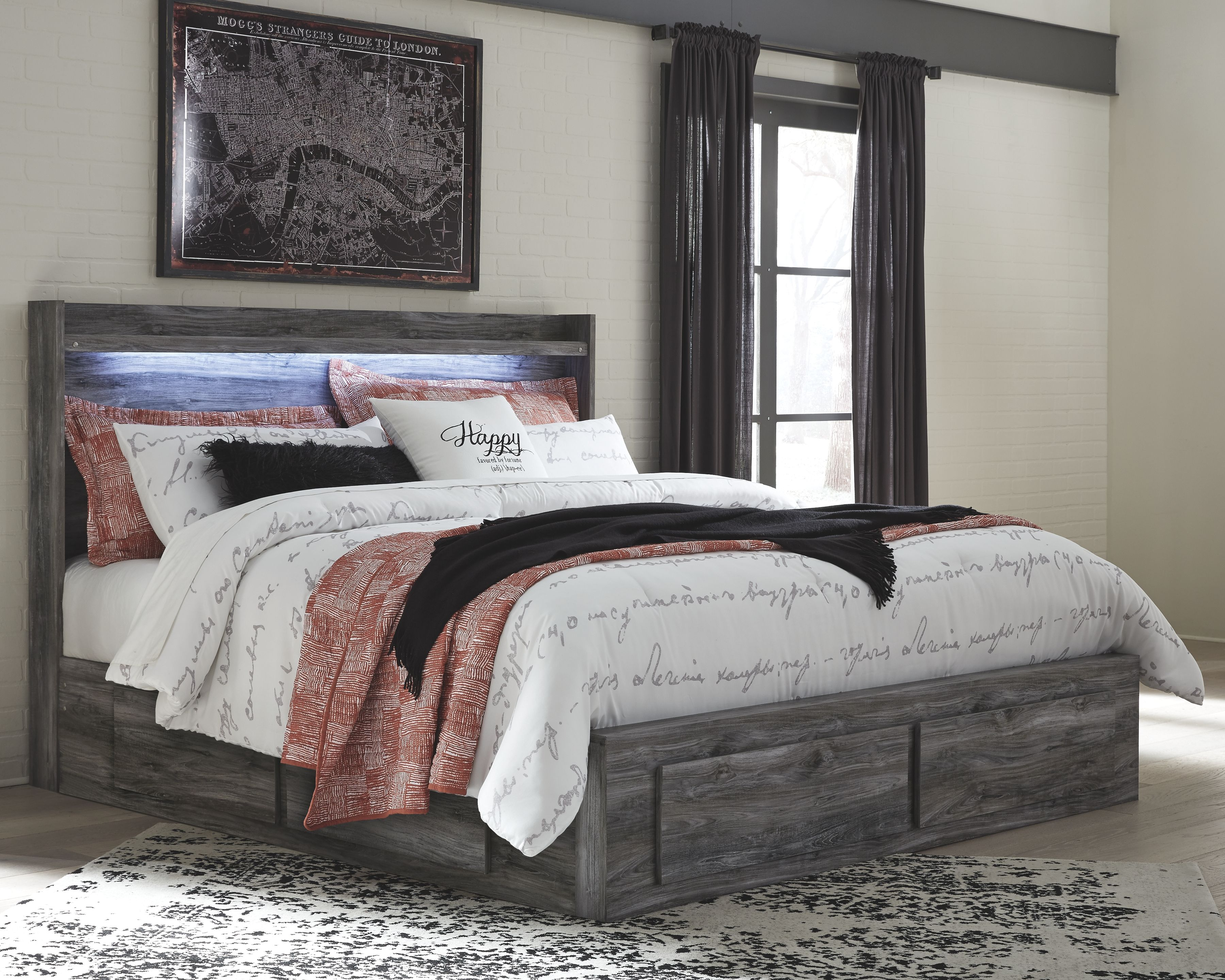 Baystorm King Panel Bed with 6 Storage Drawers, Gray