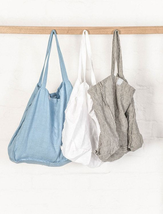 Large linen tote bag / linen beach bag / linen shopping bag in ...