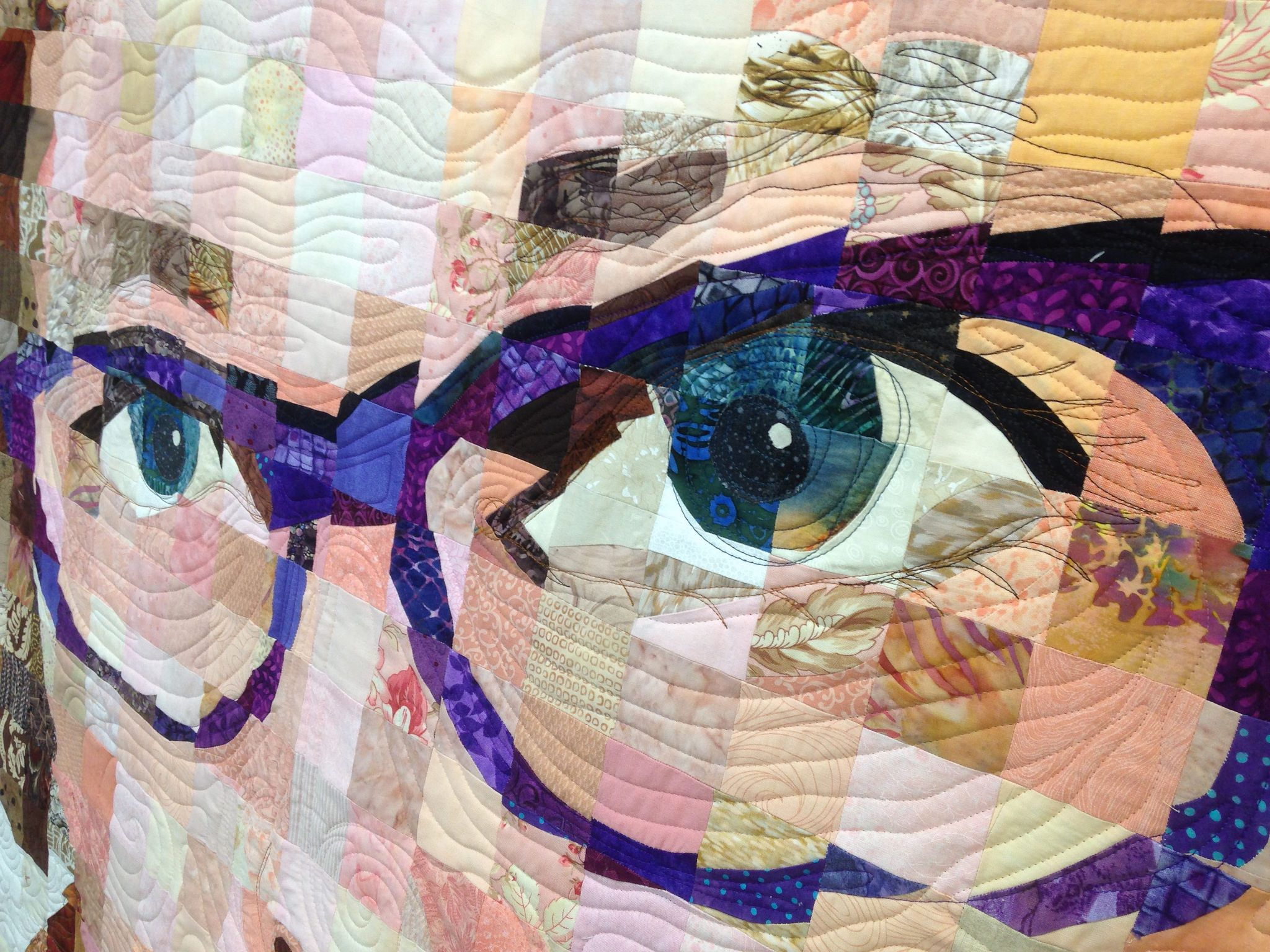 https://flic.kr/p/yPTbzv | Closeup of Robin's Self-portrait quilt