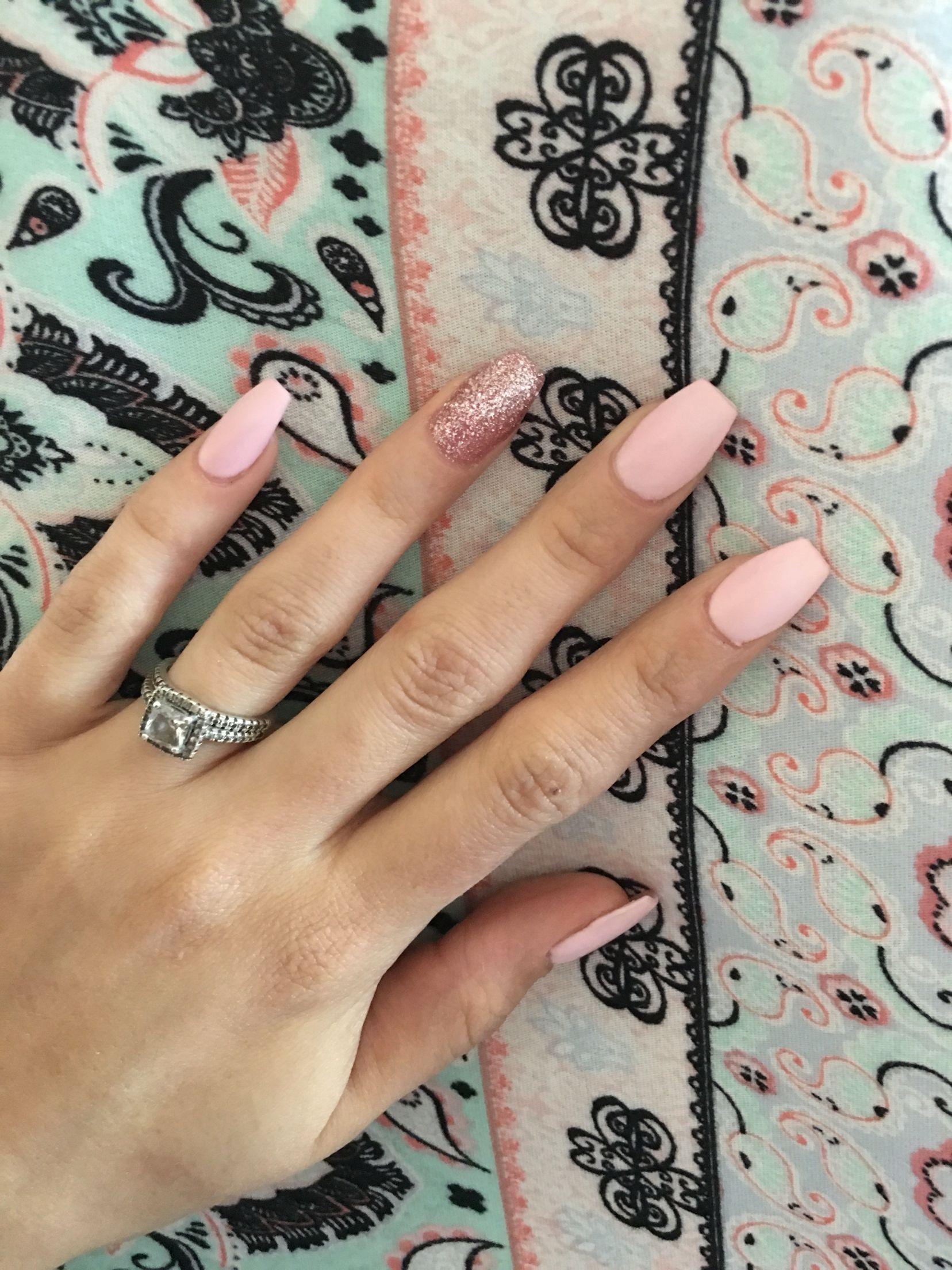 Short coffin nail pretty matte pink luxury nail designs
