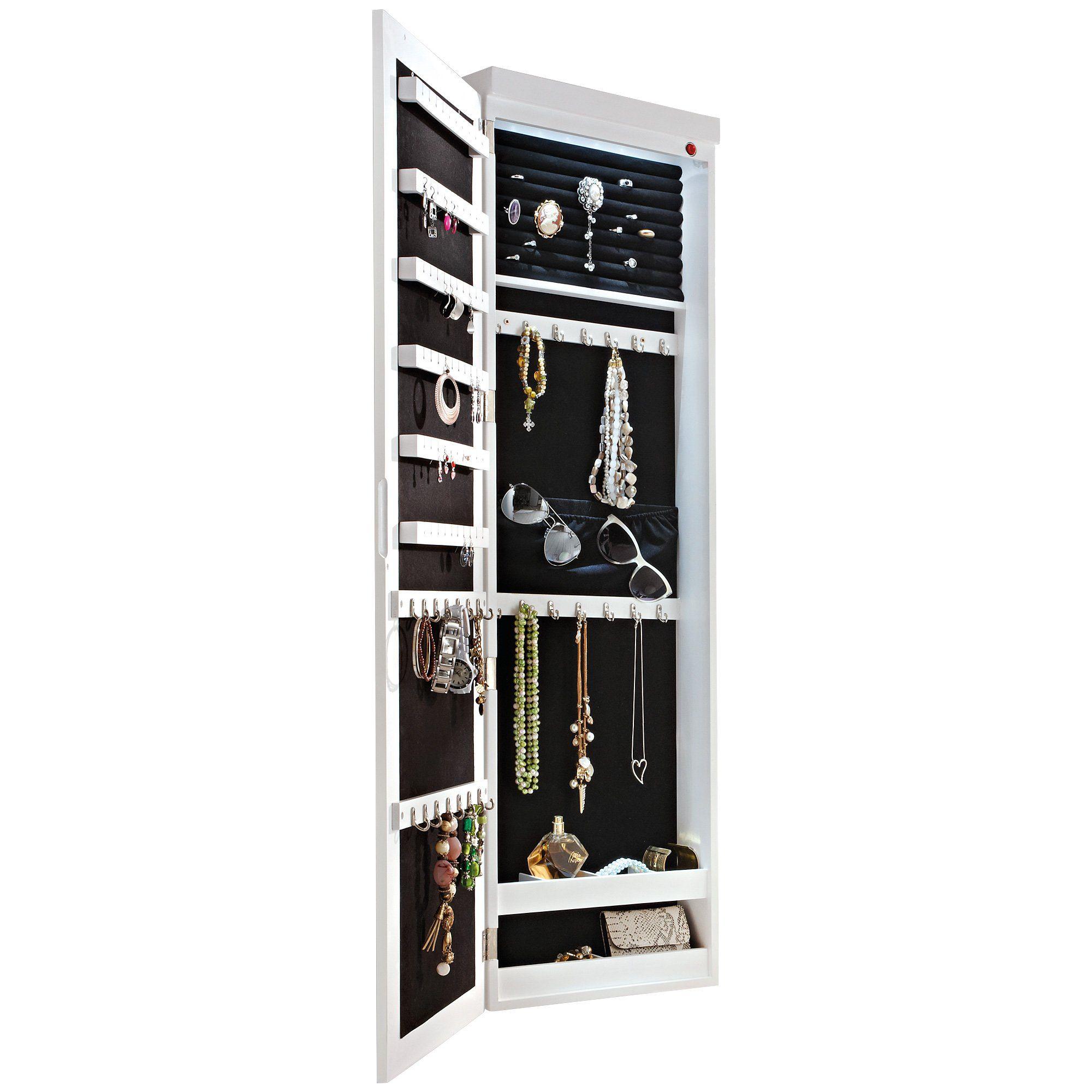 Schmuckschrank Spiegelschrank Zum Hangen Mit Led Beleuchtung Weiss Ca B37 X T10 X H122 Cm Espejos Emprendimiento