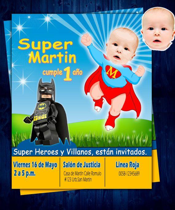 Invitación De Cumpleaños Baby Superman Bebe Por