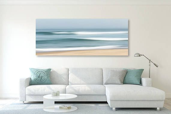 Huge Abstract Panoramic Photograph Of Ocean Waves Crashing On A