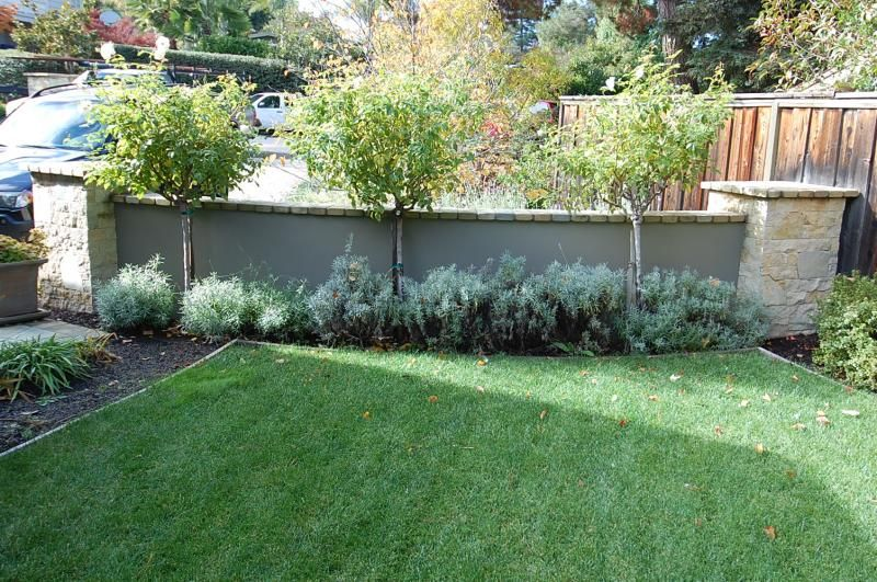 Stucco Patio Walls Stone Retaining Wall Close Up Of The