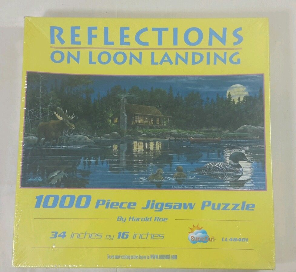 Reflections  On Loon Landing by Harold Roe - 1000 piece SunsOut Puzzle 34x16 #SunsOut
