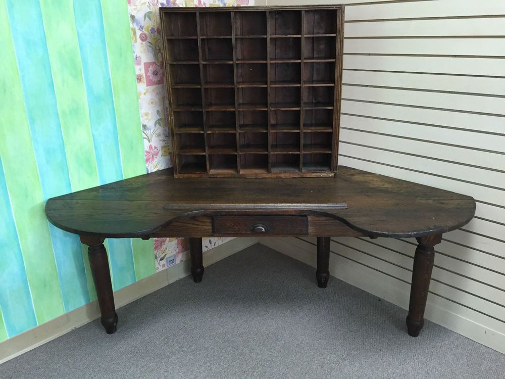 Antique Primitive Corner Desk from Post Office in Warms