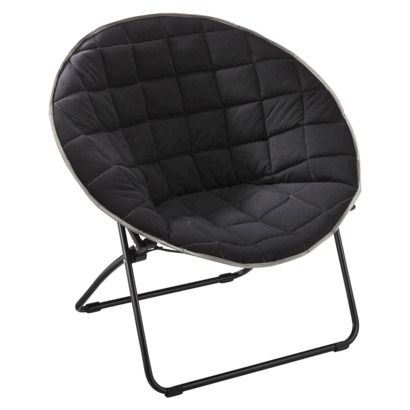 $29.99 Quilted Round Chair   Black