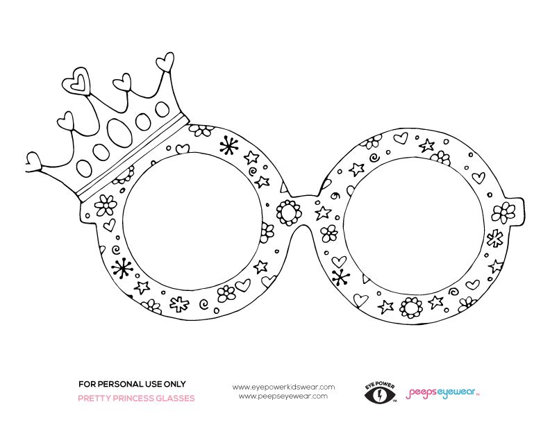 Free Princess Glasses Coloring Page By Peepseyewear And Eye Power Kids Wear