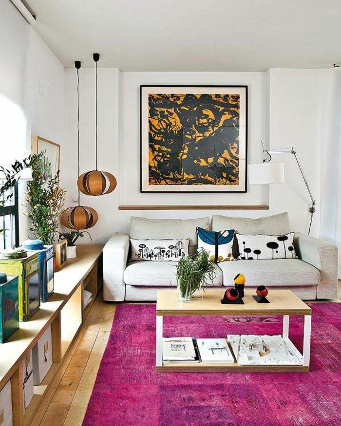 wohnzimmer einrichten beispiele lila teppich pendeleuchten | q ...