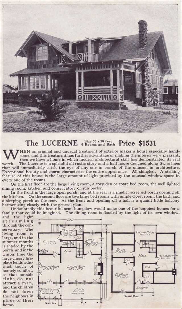 The Lucerne Modern Bungalow Style Of The 1910s Swiss Chalet Lewis Manufacturing Kit Homes Modern Bungalow Vintage House Plans Bungalow Style