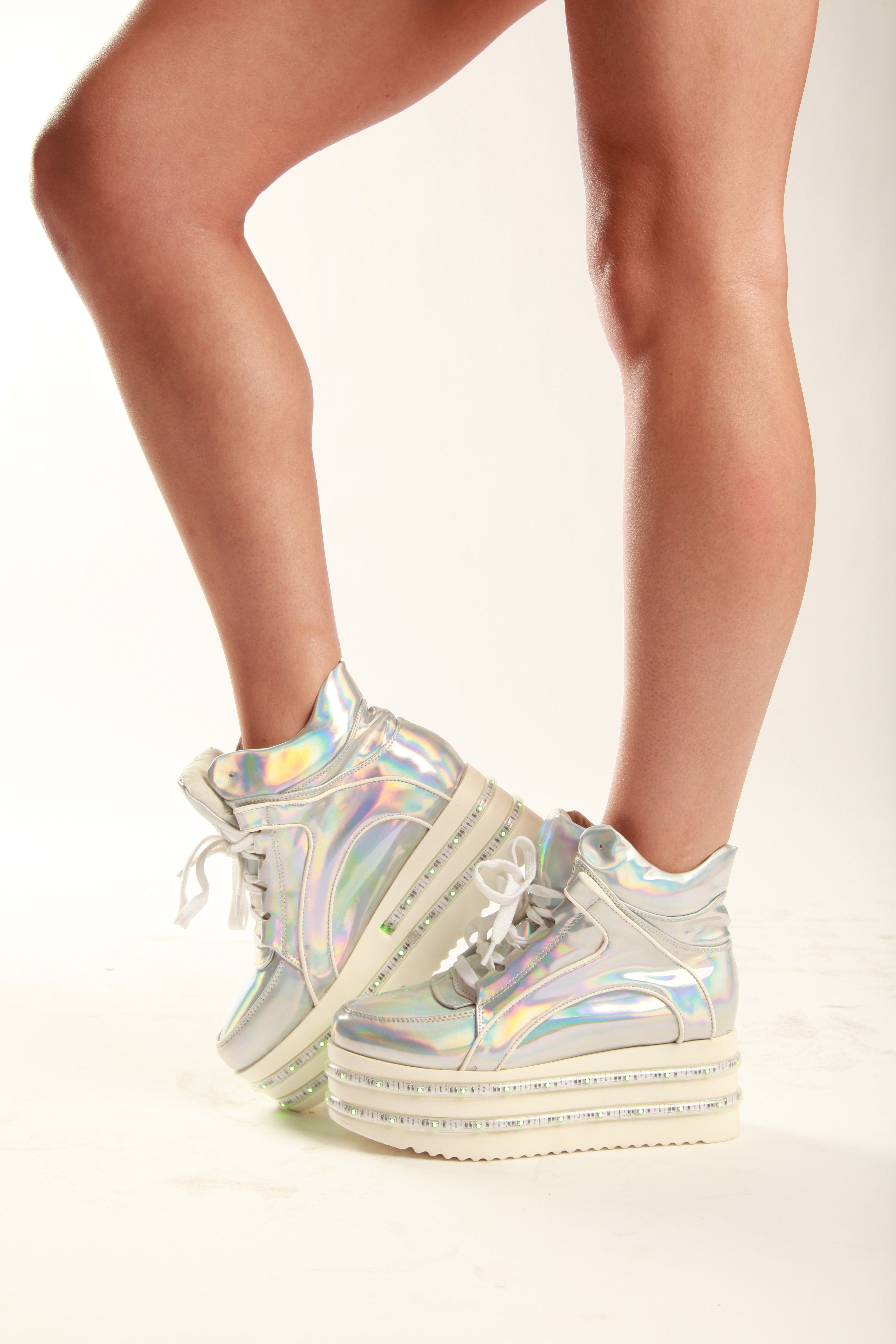 21f23b15ae3 i wish    Be the first to get our new light-up led platform shoes in hologram  silver with two rows of color changing LEDS! Easily change the color of  your ...