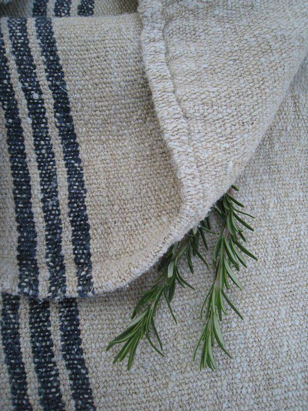 Antiques Antique European Hemp Grain Sack Gorgeous Reversible Caramel Tan Brown Stripes