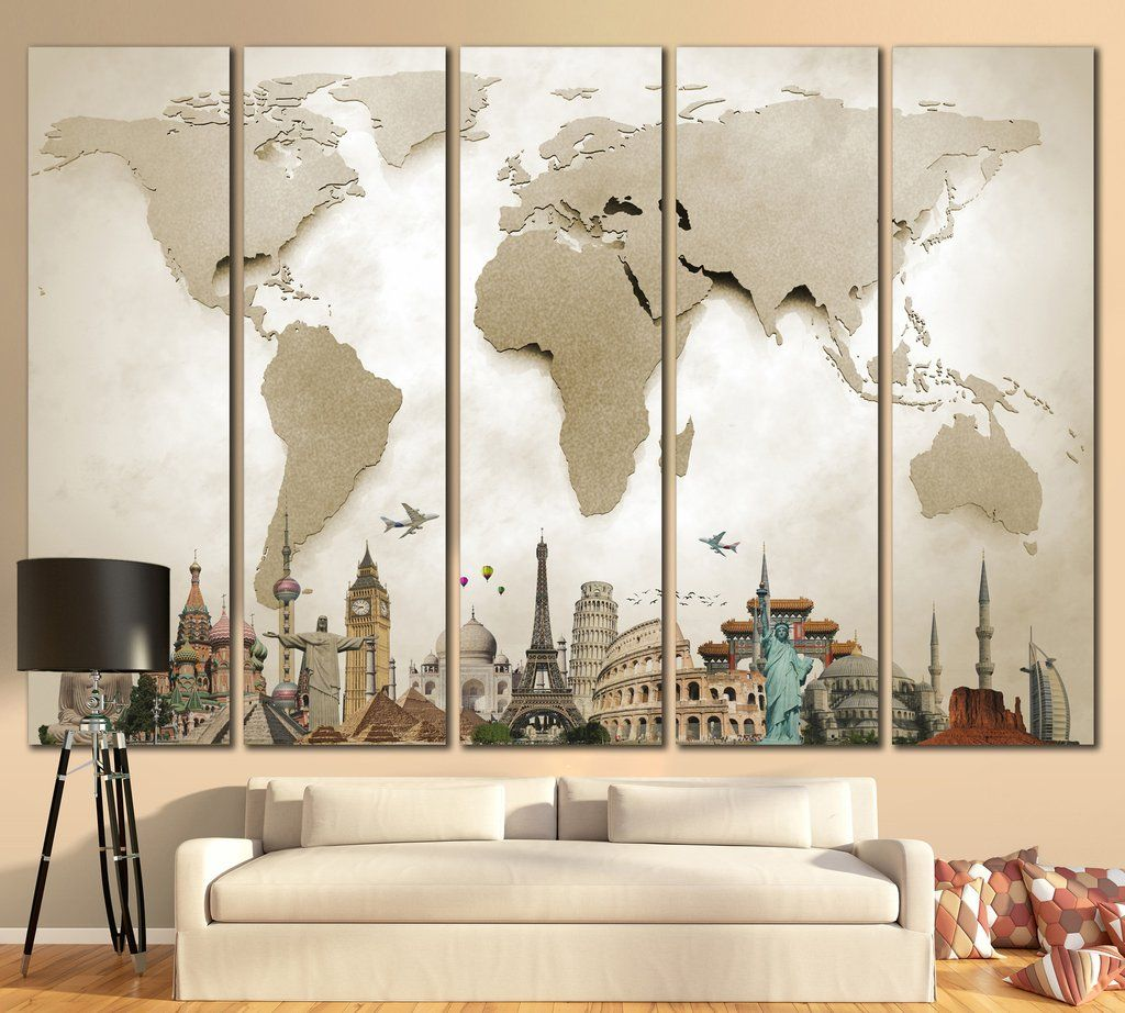 Large world map 702 canvas print canvas print canvas print 3d effect world map with landmarks canvas print from 5999 gumiabroncs Image collections