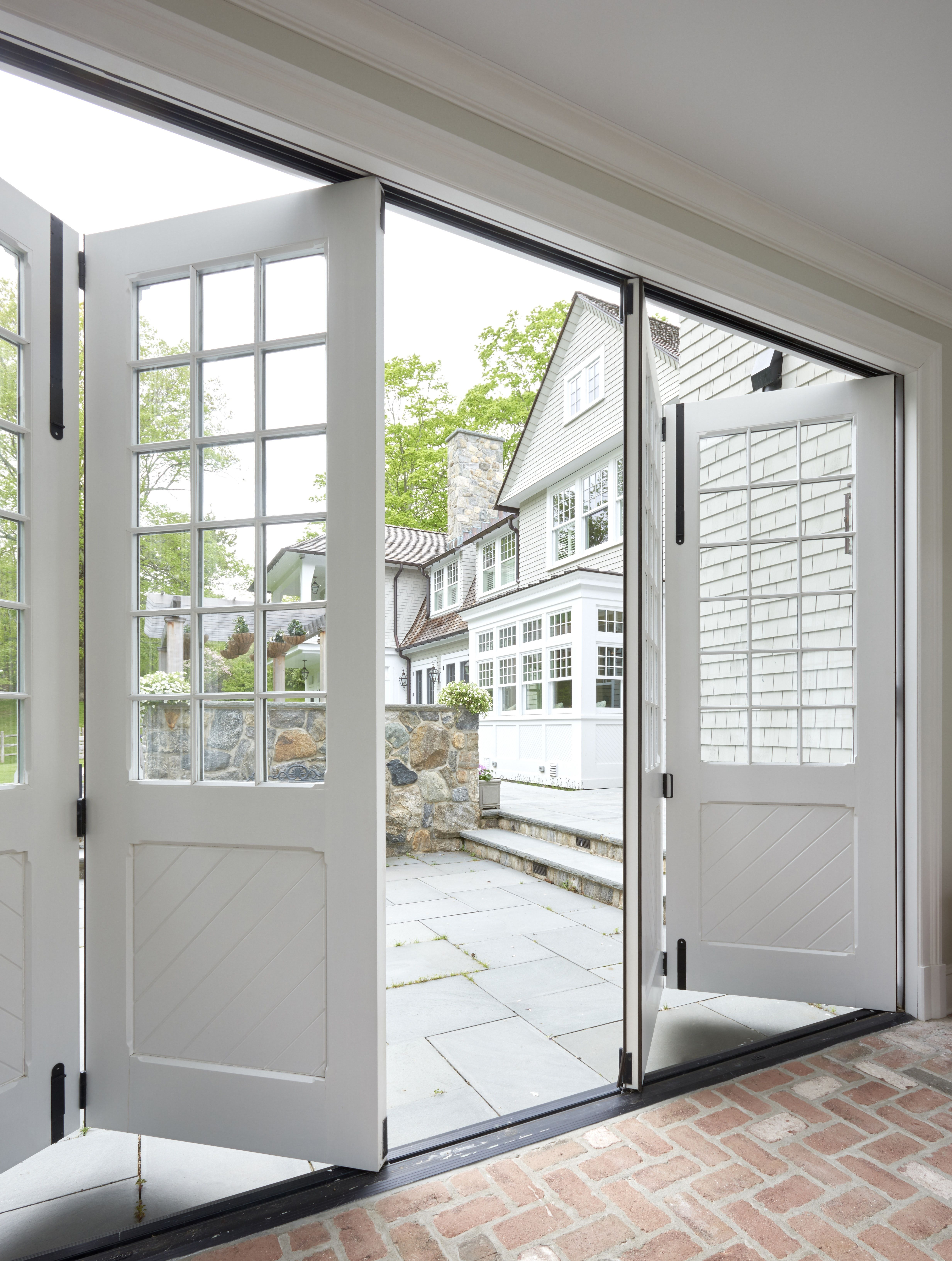 Breezeway With Sliding Doors And View To Rear Terrace Garage Door Design Garage Doors Garage Door Styles